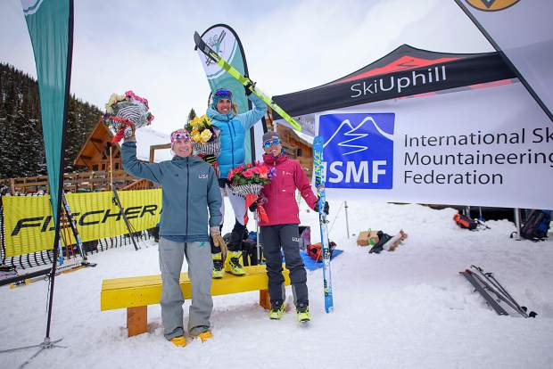 Breckenridge resident Sierra Anderson, middle, stands atop a U.S. sweep of the women's vertical race podium at last weekend's first-ever Pan-American Ski-Mountaineering Championships in Lake Louise, Alberta, Canada. Anderson was joined on the podium by fellow Americans Michela Adrian and Summit County local Jaime Brede.
