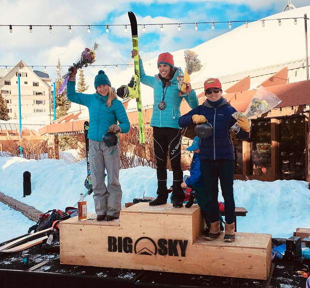 Breckenridge resident Sierra Anderson stands atop the podium at the March 17 Shedhorn Ski Mountianeering race in Big Sky, Montana. Anderson was joined on the podium by second-place finisher Michela Adrian and third-place finisher and Summit County local Jaime Brede.