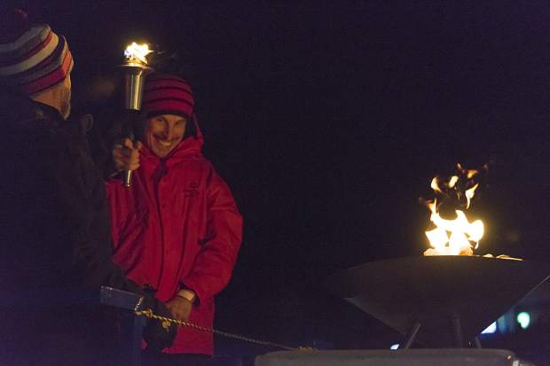 The Olympic cauldron is lit at the Feb 24-25 Special Olympics Colorado Winter Games at Copper Mountain Resort.