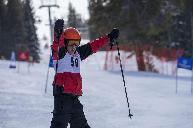 An Alpine skiing competitor exudes an excited cheer during the Feb. 24-25 Special Olympics Colorado Winter Games at Copper Mountain Resort.