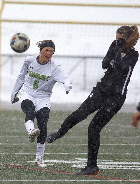 Summit High School sophomore defense Taylor Ash kicks the ball during the home match against Grand Junction High School Thursday, March 29, in Frisco.