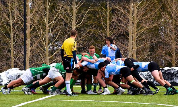 A scene from last year's Summit Renegads rugby season, Summit and Grand Valley players readied for a scrum during a home 15s rugby match in Breckenridge on April 1, 2017. The Tigers won, 21-0, for the team's second victory of the season and first shutout win in program history.