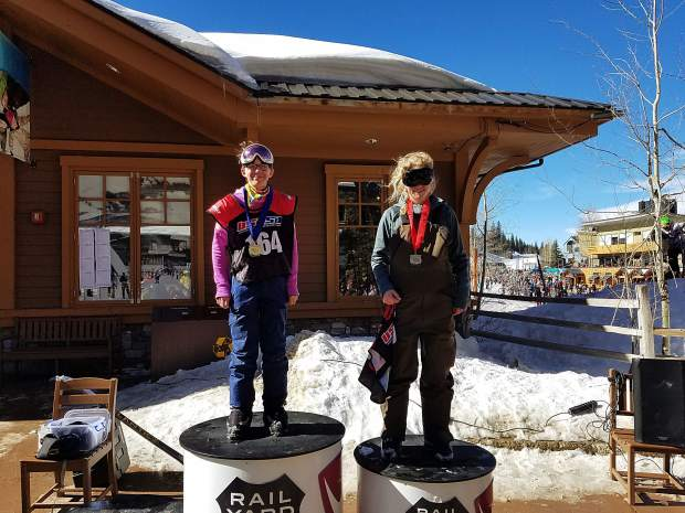 Team Summit athlete Jenna Riccomini (center) took first place in the girls 12 and 13 year-old division at the USSA slopestyle event at Winter Park on Feb. 17.