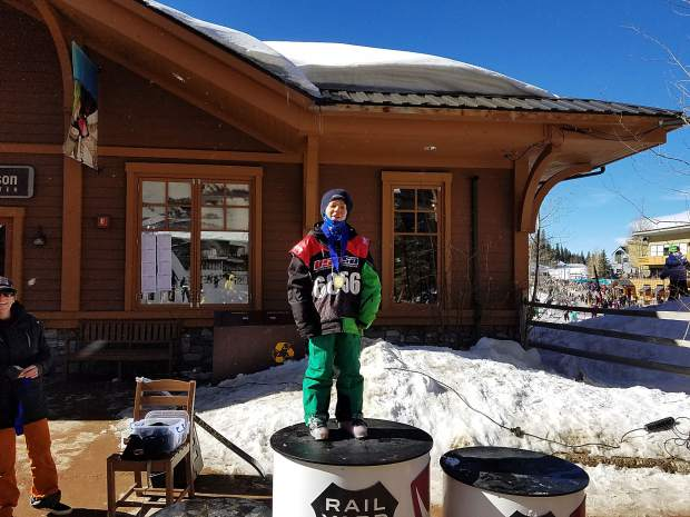 Team Summit athlete Mateo Strachan took first place in the boy's 8 and 9-year-old division at the USSA slopestyle event at Winter Park on Feb. 17.