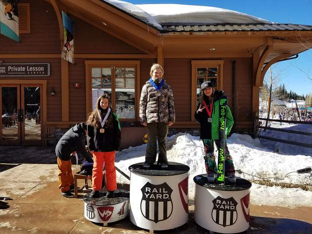 Team Summit athletes Katarina Kazienko and Alex Thistead took second and third place respectively in the girl's 10 and 11-year-old division at the USSA slopestyle event at Winter Park on Feb. 17.