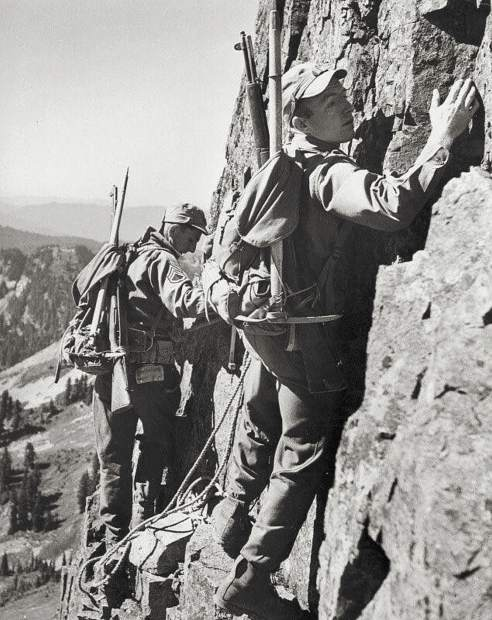 Members of the 10th Mountain Division train as rock climbers during World War II. Breckenridge resident Christie O'Neil's father Robert Irving O'Neil trained his subsidiaries in rock climbing similar to this during his time at Camp Hale during the war.