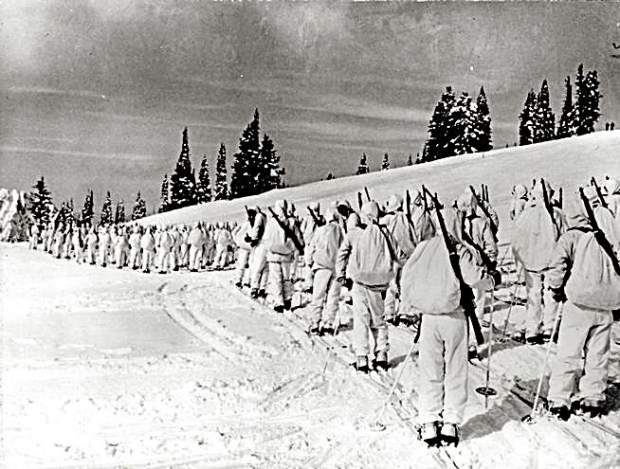 The 10th Mountain Division is pictured in this file photo dating back to 1943. The 10th Mountain Division, an elite mountain unit made up of Olympic-caliber skiers, champion ice skaters, mountain climbers, cowboys, and miners, trained at Camp Hale in Colorado. They skied on 7-foot-long wooden skis, snowshoed, rock climbed and built snow caves in anticipation of defending mountainous coastal areas of the United States and besting the enemy in the mountains of Europe.