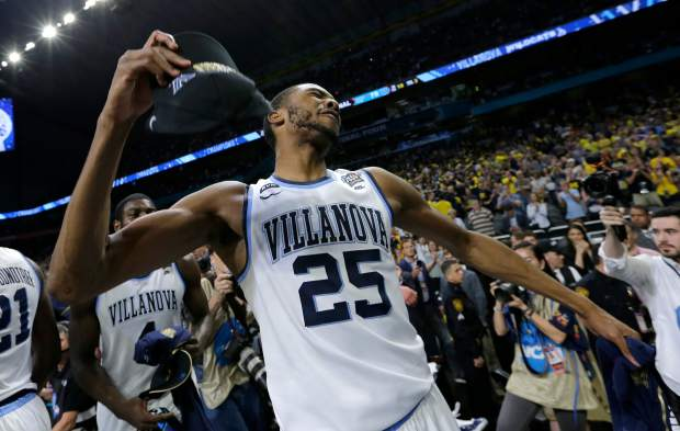 Villanova's Mikal Bridges (25) celebrates after the championship game of the Final Four NCAA college basketball tournament against Michigan, Monday, April 2, 2018, in San Antonio. Villanova won 79-62.