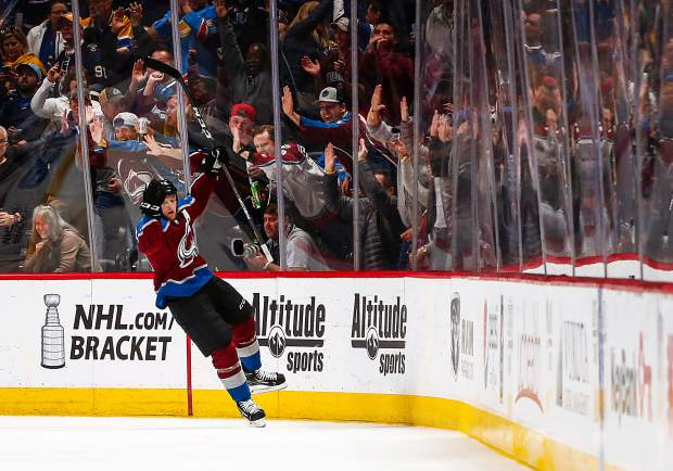 42517d7e9 Colorado Avalanche center Nathan MacKinnon (29) celebrates a goal against  the St. Louis