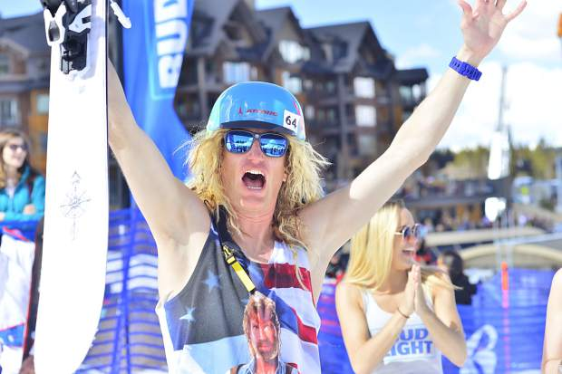 Ward Malek, a 36-year-old ski instructor, celebrates after winning the Breck Plunge on Sunday at Breckenridge Ski Resort. After finishing last year's plunge runner-up, Malek said winning the event is about the best way he can think of to close out a ski season.