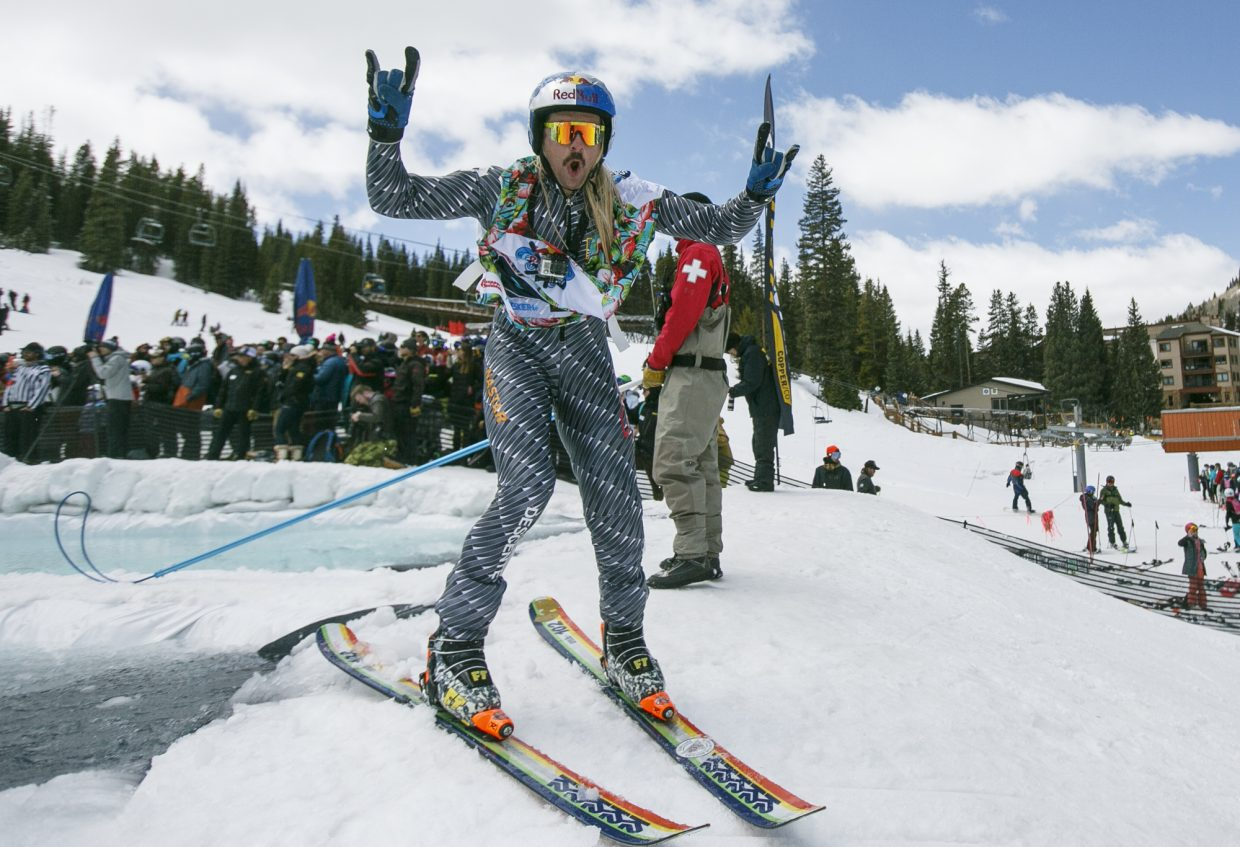 Hayden Wright poses for camera during the Red Bull Slopesoakers Pond Skimming competition Saturday, April 14, at Copper Mountain.