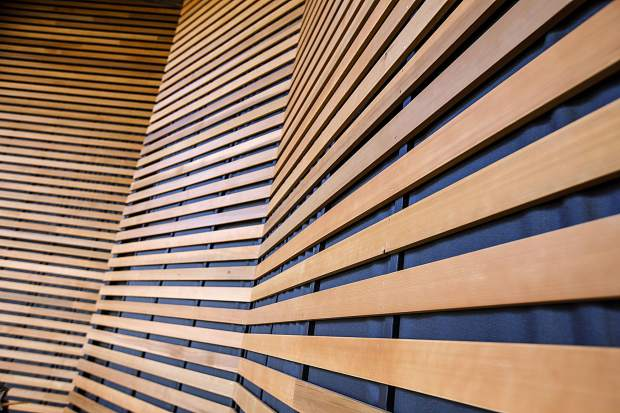 Cedar wood line paneling at the updated theDillon Amphitheater Thursday, April 12, in Dillon.