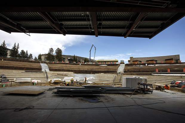Dillon Amphitheater under construction Thursday, April 12, in Dillon.