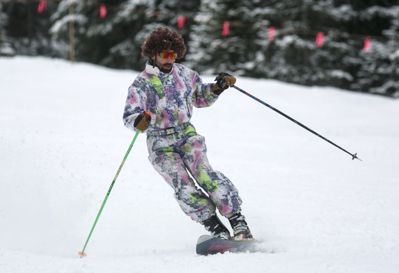 A skier rides a monoski in a onesie Sunday, April 1, at Arapahoe Basin. The ski resort attract thousands of skiers, snowboarders, and real-life gapers in outfits every year on April Fools.