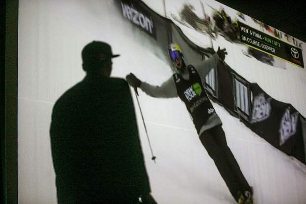 U.S. Olympian silver medalist Nick Goepper watches a replay from his December second-place slopestyle finish at the Dew Tour in Breckenridge while at Summit High School Thursday, April 5.