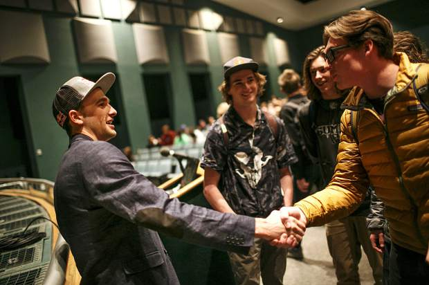 U.S. Olympian silver medalist Nick Goepper greets Summit High School students Thursday, April 5, inside the school's auditorium in Breckenridge.