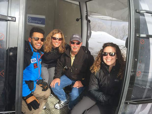 Dillon resident and Copper Mountain Resort winch cat operator Paul Hoagland poses for a photo with his family during the 2018 Pyeongchang Winter Olympic Games.