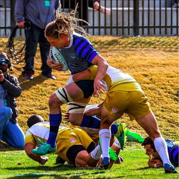 Frisco native Connor Cook (with ball) is a member of the Glendale Raptors professional rugby side as the franchise embarks on the inaugural Major League Rugby season on Saturday at Infinity Park in Glendale.