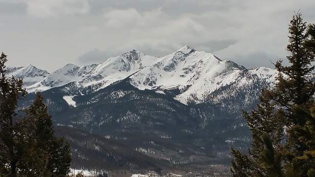 Tenmile Range on April 6 seen from Sapphire Point.