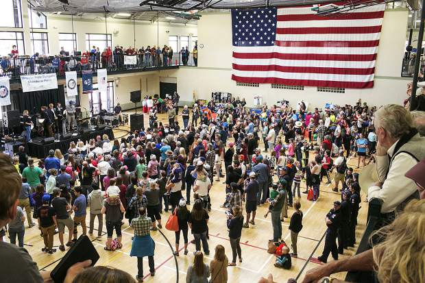 Fans attend the speeches by the local olympians inside the Silverthorne Recreational Center Saturday, April 28, along Rainbow Drive in Silverthorne.