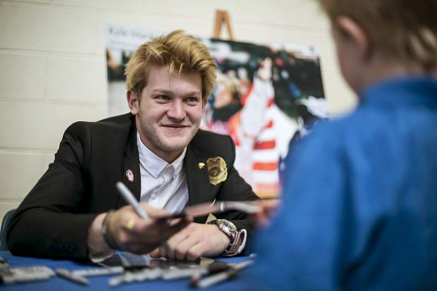 2018 Winter Olympic silver medalist Kyle Mack sign autographs for fans inside the Silverthorne Recreational Center Saturday, April 28, along Rainbow Drive in Silverthorne.