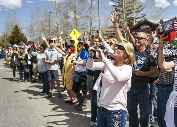 Fans attend the parade to honor the local olympians Saturday, April 28, along Rainbow Drive in Silverthorne.
