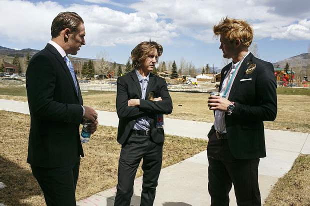 Olympians from Silverthorne, from left, Chris Corning, gold medalist Red Gerard, and silver medalist Kyle Mack chat before giving speeches to the hometown fans Saturday, April 28, at the Silverthorne Recreation Center.