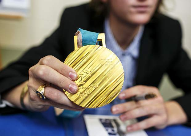 Silverthorne's Red Gerard's gold medal from the 2018 Winter Olympics for the snowboard slopestyle event Saturday, April 28, in Silverthorne.