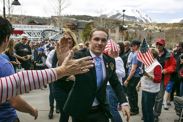 2018 Winter Olympian athlete Chris Corning, of Silverthorne, greets fans at the Silverthorne Rec Center Saturday, April 28.