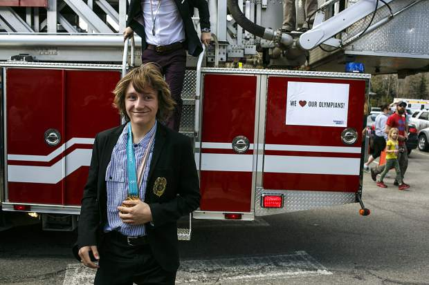 2018 Winter Olympic gold medalist Red Gerard, of Silverthorne, arrives at the Silverthorne Rec Center Saturday, April 28.