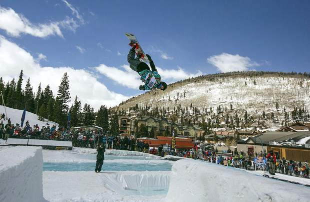 A participant does a flip before the pond in the Red Bull Slopesoakers competition Saturday, April 14, at Copper Mountain.