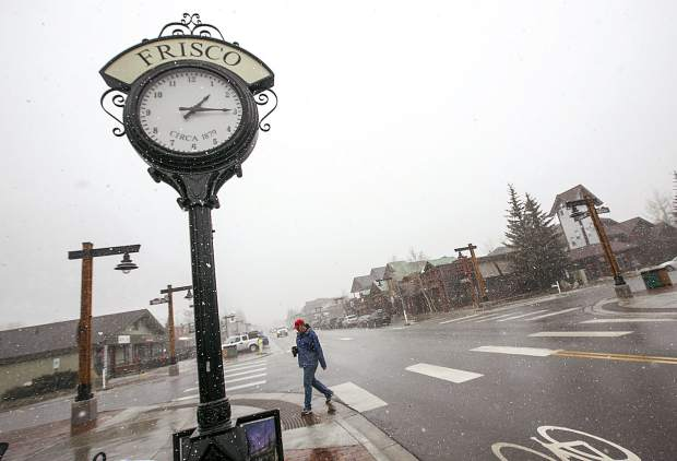 Snow arrives Main Street in Frisco Tuesday, April 17.