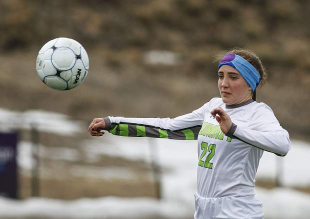 Summit High School sophomore Nicole Kimball braces to possess the ball during the Tigers' home match against Glenwood Springs High School Thursday, April 5, at Climax Molybdenum Field at Tiger Stadium.