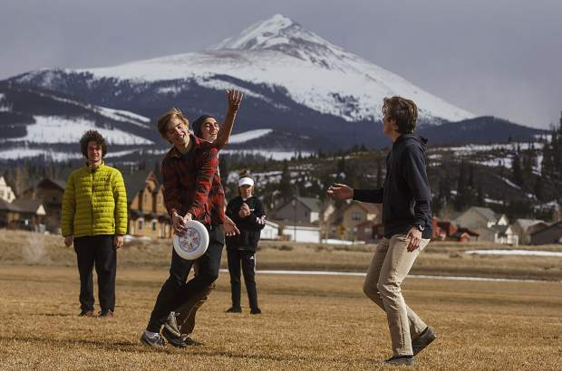 Summit High School ultimate frisbee team at practice Thursday, April 12, at school grounds in Breckenridge.