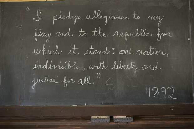 The chalkboard inside the Dillon Schoolhouse Museum Wednesday, April 25, in Dillon.