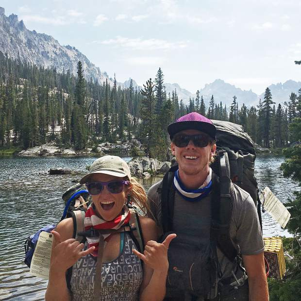 Dominique Edgerly, left, poses for a photo with Abel Palmer in the Sawtooth Range of Idaho. Palmer, of Durango, died earlier this year in an avalanche near Teluride.