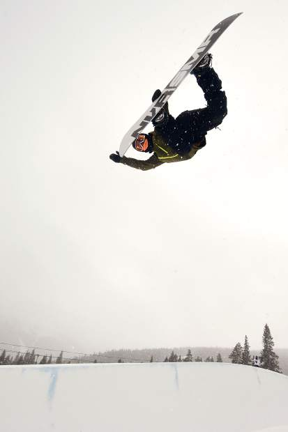 Dillon snowboarder Chase Blackwell executes a method in the Copper Mountain Resort halfpipe in 2017.