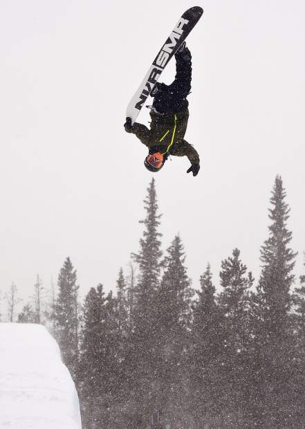 Dillon snowboarder Chase Blackwell executes a Crippler nosegrab in the Copper Mountain Resort halfpipe in 2017.