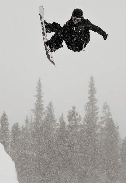 Dillon snowboarder Chase Blackwell attempts a chicken salad air in the Copper Mountain Resort halfpipe in 2017.