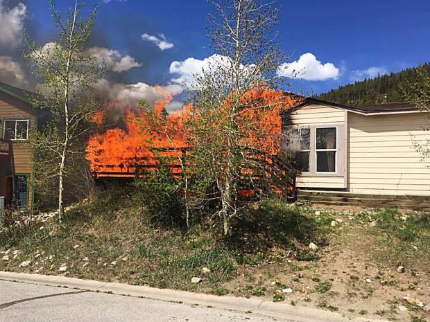 Flames spew from the home at 106 Reliance Drive in Breckenridge on Sunday. Crews with the Red, White and Blue Fire Protection District believe the fire started somewhere near the entrance, but the cause remains under investigation.
