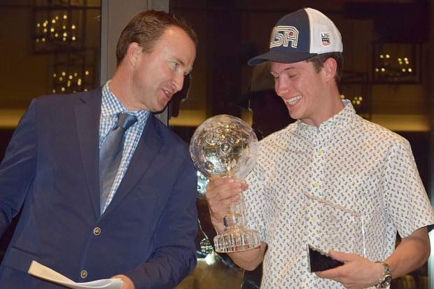 Colorado skier Alex Ferreira finally got to add a huge honor to his trophy case when he was awarded the International Ski and Snowboard Federation Crystal Globe he earned this season when it was presented to him at the Ski & Snowboard Club Vail awards dinner on May 14.