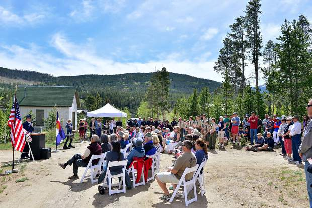 Major Darin Overstreet, deputy state public affairs officer with the Colorado National Guard, speaks Monday during the sixth Memorial Day Commemoration at Valley Brook Cemetery in Breckenridge. Organizers said it was the most well attended Memorial Day ceremony to date.