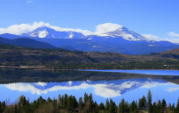 The mountains of Breckenridge, Baldy and Guyot, were reflected in the peaceful waters of Lake Dillon.