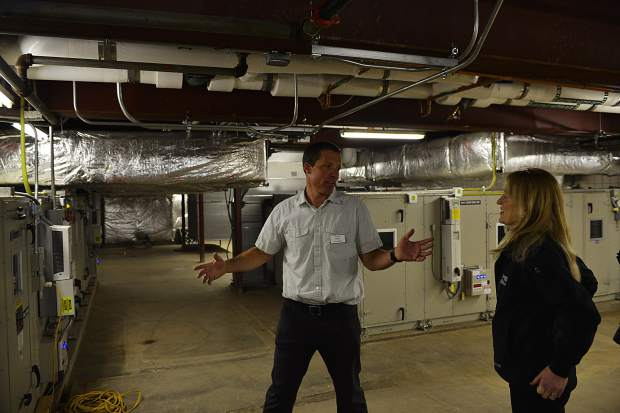 Breckenridge director of recreation Scott Reid shows elected officials the new heating and cooling systems at the Breckenridge Recreation Center on Tuesday after the rec center underwent a massive $17.2 million renovation project this year.