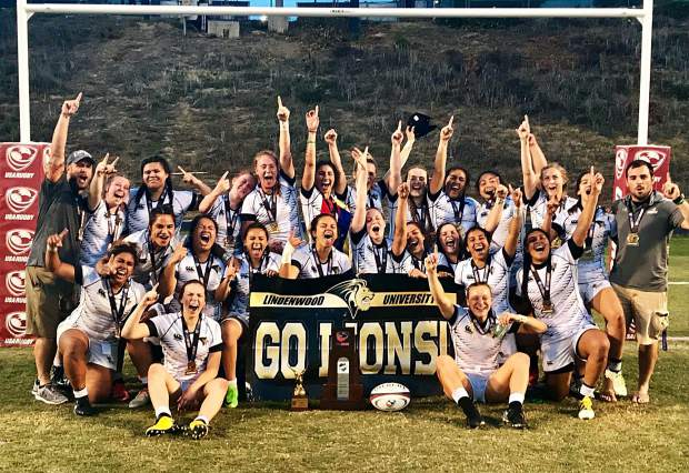 The Lindenwood University rugby team poses for a photo in celebration after defeating Life University for the 2018 Rugby-15s D-1 Elite national championship on May 5.