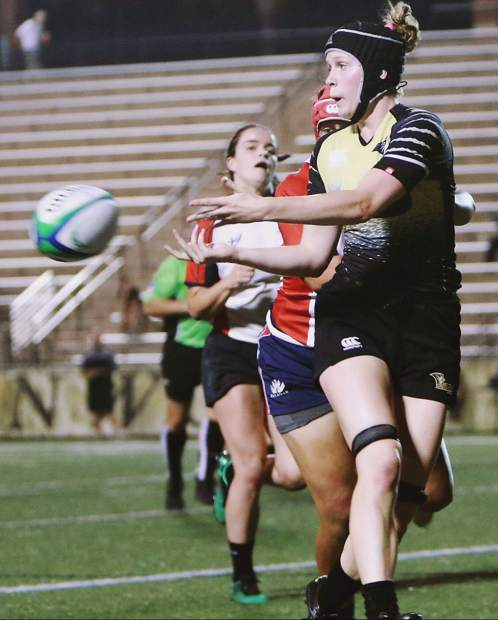 Frisco's Natalie Gray retrieves a pass while playing as a freshman with the Lindenwood University rugby team this year.