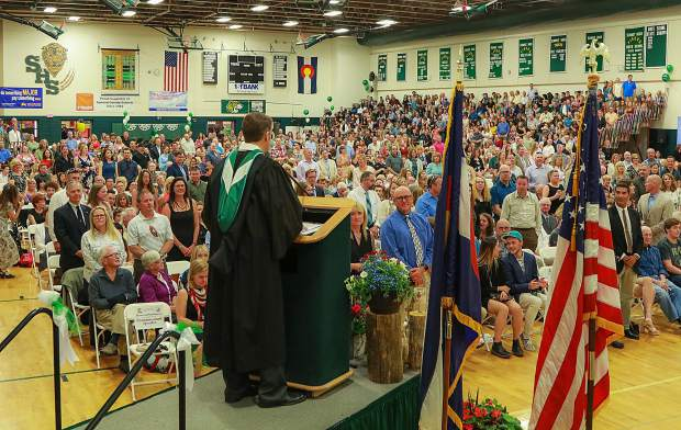 Summit High School Principal Drew Adkins speaks during the Class of 2018 graduation ceremony, Saturday, May 26, at the SHS gymnasium in Breckenridge.