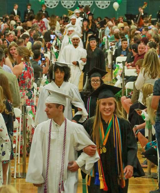 Summit High School students march into the gymnasium for the graduation ceremony Saturday, May 26, in Breckenridge.