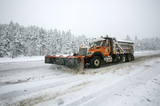 A snowplow machine on interstate 70 Thursday, May 3, in Silverthorne.
