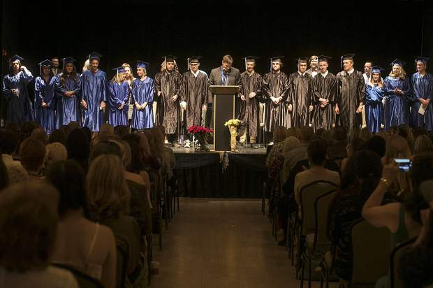 Snowy Peaks High School student graduates, a total of 16, during the ceremony Thursday, May 24, inside the Silverthorne Pavillon.